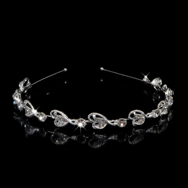 Hearts Love White Gold Headband with Clear Rhinestone Crystal Hair Accessories Tiara # 5