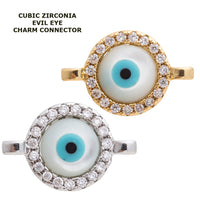 Cubic Zirconia Round Shell Evil Eye Protection Gold Filled Cooper Charm Connector Crystal Rhinestone CZ Pave Czech Bracelet Design