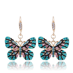 DongStar Fashion Gold Filled Jewelry Zirconia Crystal Elegant Turquoise Butterfly Hook Casual Earrings Precious Moments