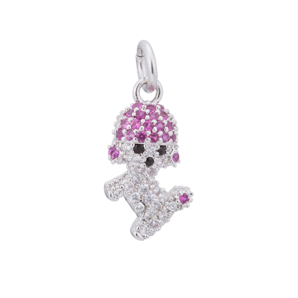 Silver Pink Cute Puppy, Dog Lover, Mini Pet, Animal, Canine Craft Cubic Zirconia Bracelet Charm Bead Finding Pendant For Jewelry Making