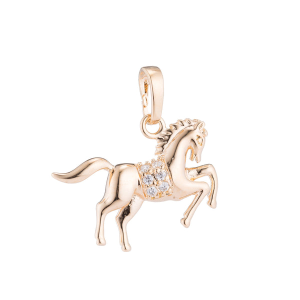 1pc Gold Horse, Majestic Horses, Animal Lover Gift, Strong, DIY Cubic Zirconia Necklace Pendant Charm Bead Bails Findings for Jewelry Making