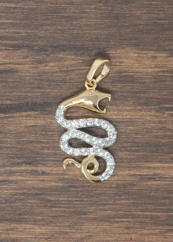1 Gold Snake, Reptile Animal, Serpent, Viper, Spirit, Cubic Zirconia Necklace Pendant Charm Bead Bails Finding for Jewelry Making