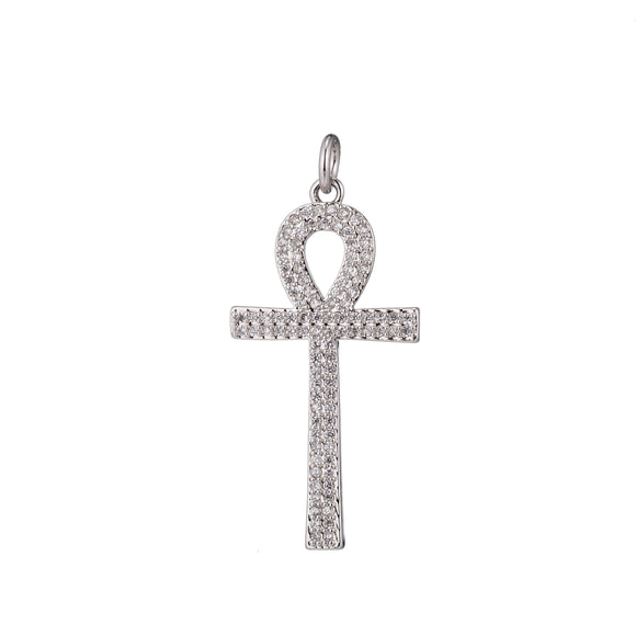 1pc Silver Ankh, Crux Ansata, Symbol of Life, Ancient Egyptian, Cubic Zirconia Necklace Pendant Charm Bead Bails Findings for Jewelry Making