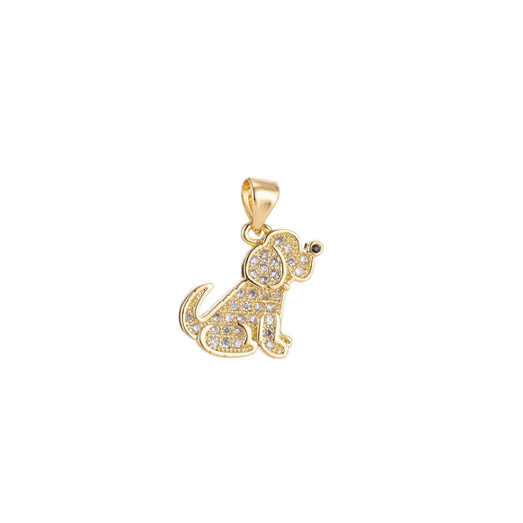18K Gold Filled Cute Dog, Animal, Pet, Cubic Zirconia Necklace Pendant Charm Bails Findings for Jewelry Making