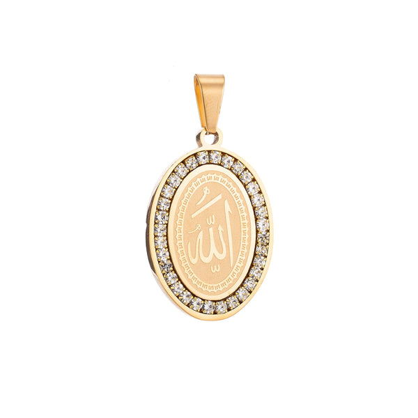 24K Gold Filled Stainless Steel Allah Name, Moslem God Necklace Pendant Arabic Word Charm Bails Findings for Jewelry Making