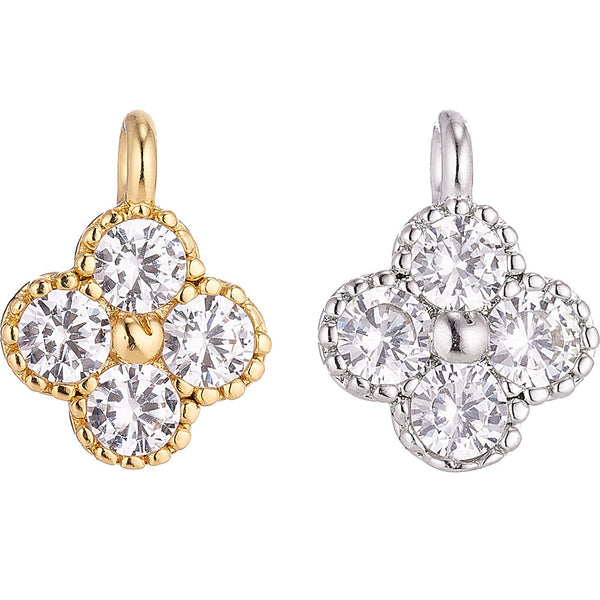 1pc White Gold Filled Flower Cubic Zirconia Bracelet Connector Charm Necklace Pendant Findings for Jewelry Making Dainty Floral Wreath
