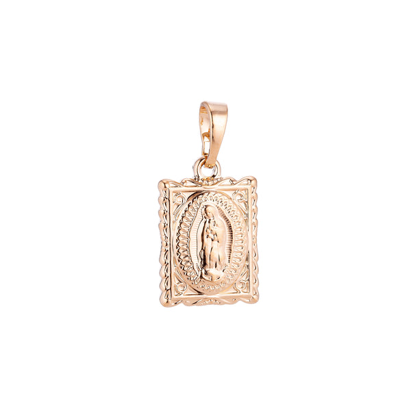Dainty Rose Gold Filled Holy Virgin Mother Mary, Spiritual Gift, Frame Necklace Pendant Charm Bails Findings for Jewelry Making
