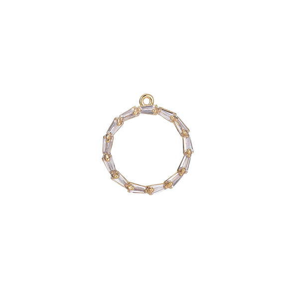 Dainty 18k Gold Filled Circle Charm Tiny Charm in Baguette Round Shape Coin Charm for Bracelet Necklace Earring Making