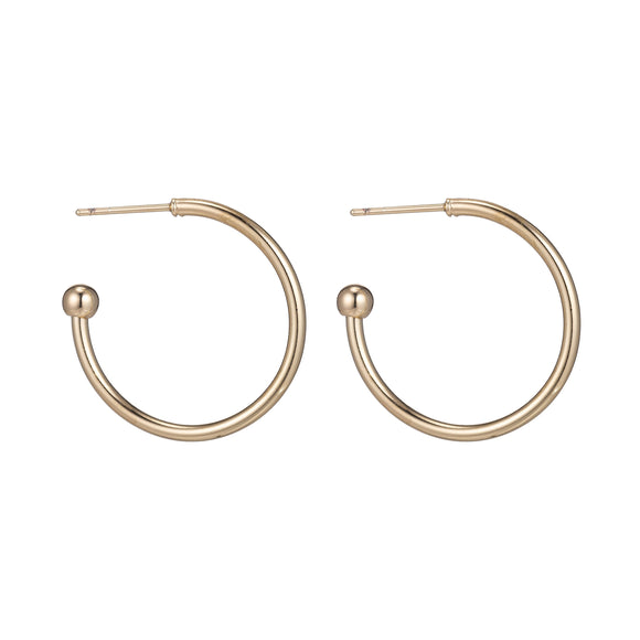 1 pair 35mm Hoop 18k Gold Filled Huggie Earrings, Handmade Hoop Earrings, Make Your Own Earring Style Findings for Jewelry Making Supplies