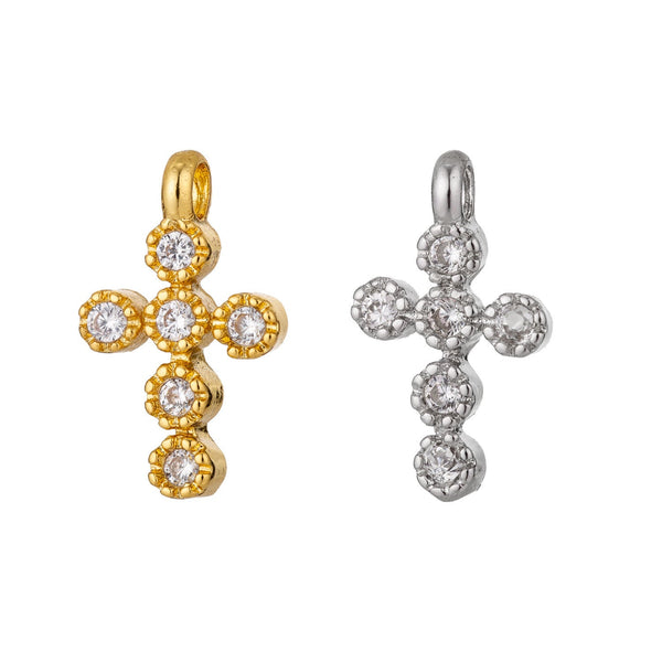 Dainty 18k Gold Filled Cross Charm Micro Pave Cross Charm, CZ Pave Pendant for Bracelet Necklace Earring Charm Supply