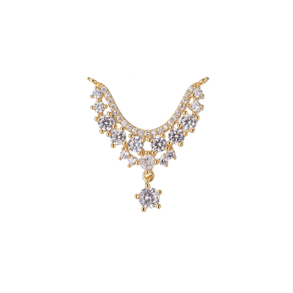 Gorgeous Dangle Gold Star Crystal Bracelet Connector, Elegant Micro Pave CZ Charm, Modern Statement Necklace Pendant for Jewelry Making