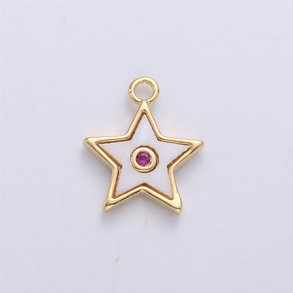 18K Gold Filled Pendant Dainty Diamond Vine Necklace Charm for Jewelry Making Flower Potion Charm Micro Pave CZ Charm