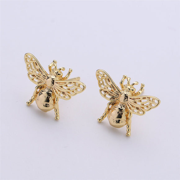 1 pair Stud Bee Earring Gold Filled insect Earring Jewelry Component
