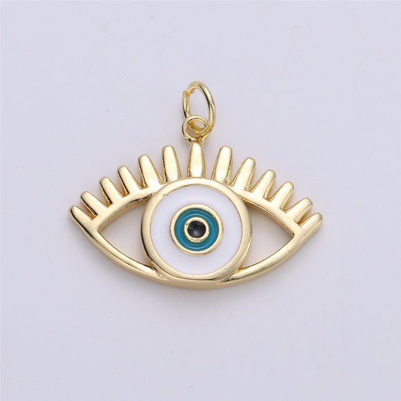 Dainty Evil Eye Charm Protection Necklace Blue Greek Eye Pendant 18k Gold Filled Enamel Charm