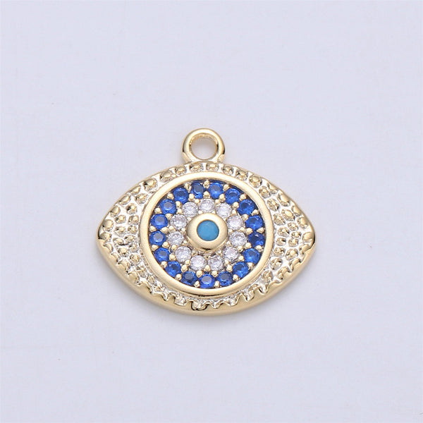 Dainty Gold Filled Evil Eye Charm Micro Pave Evil Eye Pendant Tiny greek eye charm for Necklace Bracelet Earring Charm