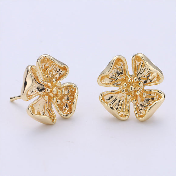 1 pair Stud Flower Earring Gold Filled Floral Earring Jewelry Component