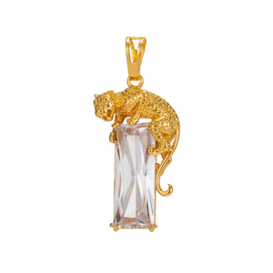24k Gold Fill Leopard Pendant in CZ Cubic Zirconia Charm for Statement Necklace Component