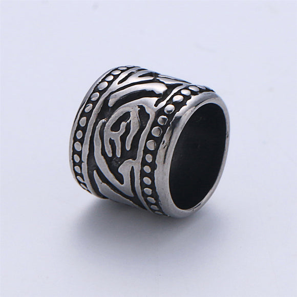 1pc Stainless Steel Large Hole Tattoo Totem Spacer Bead, for DIY Jewelry Making European Charms Beaded Bracelet, Bead Size 13x13mm Hole 4mm