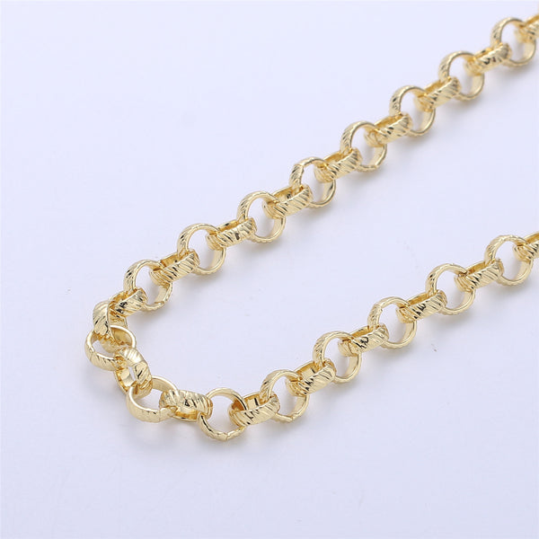 1 yard / 3 feet Gold Filled Chunky Chain Twisted Texturized Rolo Chain, Elongated Round Chain, 6mm link Chain for Necklace Bracelet #30