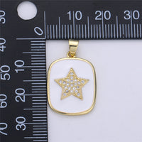 Gold Enamel Star Charm Tag Pendant, Black White Star charm, Enamel Jewelry for Necklace Component