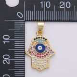 15x26mm 14k Gold Filled Hamsa Hand Charm, Micro Pave Evil Eye, Cubic Hamsa Necklace Pendant Fatima Hand, Multi Color Micro Pave Charm