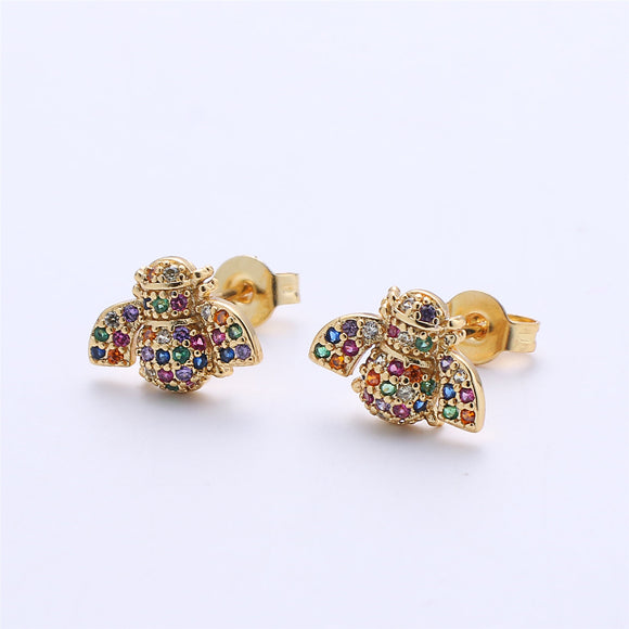 1 pair Rainbow CZ Stud Bee Earring Gold Filled insect Earring Jewelry Component