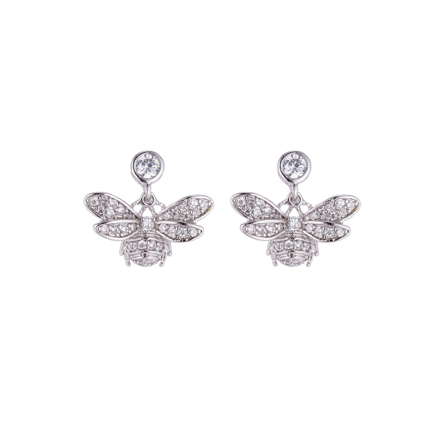 Silver Bumble Bee Stud Dangle Drop Earring, Micro Paved Stud Earring, Silver Earrings