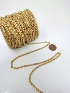 24k Gold Filled ROLO Chain 3mm thick Gold Chains Unfinished Jewelry Chains By the Yard #85
