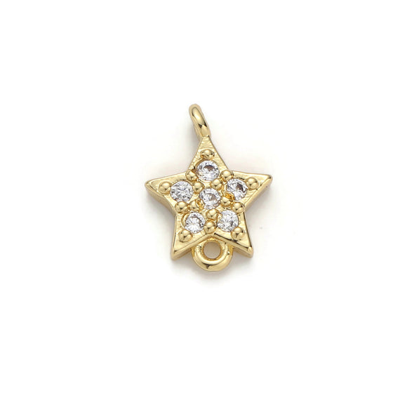 1pc Gold Filled Star Micro Pave Connector Charm, Cubic Zirconia Pendant Charm, For DIY Jewelry, Gold Color