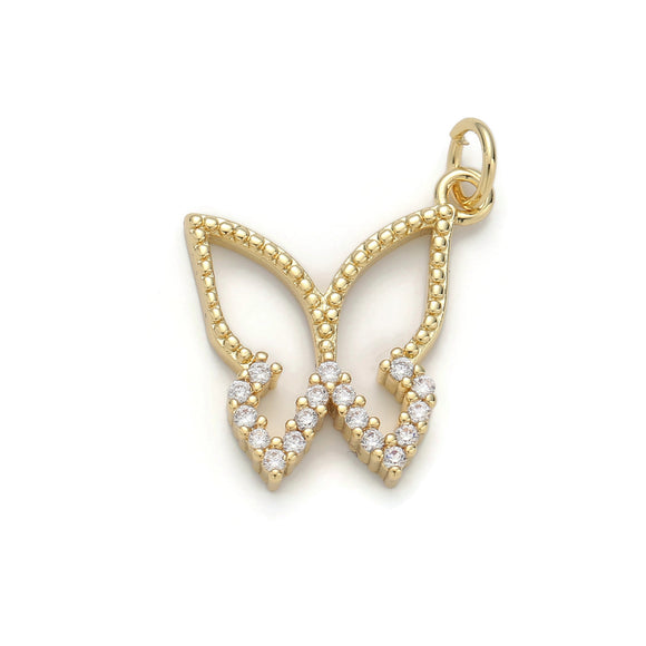 1pc 24k Gold Filled Micro Pave Butterfly Charm, Cubic Zirconia Butterfly Pendant Charm, Gold Filled Charm, For DIY Jewelry