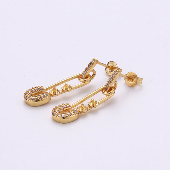 1 Pair Micro Pave Gold Safety Pin Earrings Dainty Gold Stud dangle earring studs for Earring Supply Component to put beads / pearls