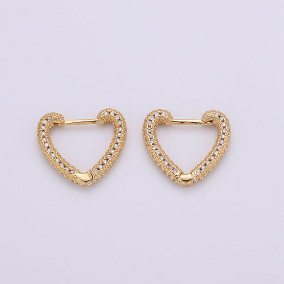 1 Pair Micro Pave Heart Hoop Earrings, Cubic Hoop Huggie Earrings, Gold Hoop Earrings, Dainty Hoop Earrings, Minimalist Hoop Earring