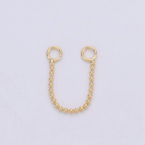 1 pair Real Gold Plated Earring Single Link Chain Connector for Earring Finding Jewelry Supply Lead free Nickel Free