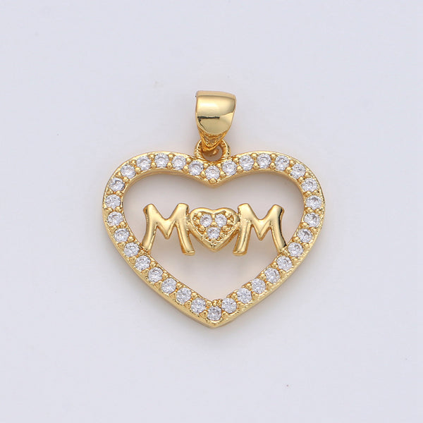 14k Gold Fill Micro Pave Mother Charm - Mom Necklace Charm - Mother Bracelet Charm - Mother's Day Gifts - Mom Letter Necklace Pendant