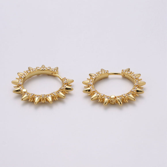 1 pair Spike earrings Micro Pave Spike hoops Gold spike earrings Clear CZ Gold hoops Dainty Earring for everyday earring 30mm