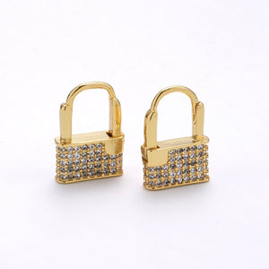 Dainty Huggie padlock Earrings, CZ Hoop Earrings, Gold Hoop PADLOCK Earrings, Micro Pave gold lock earrings, Love Lock Jewelry