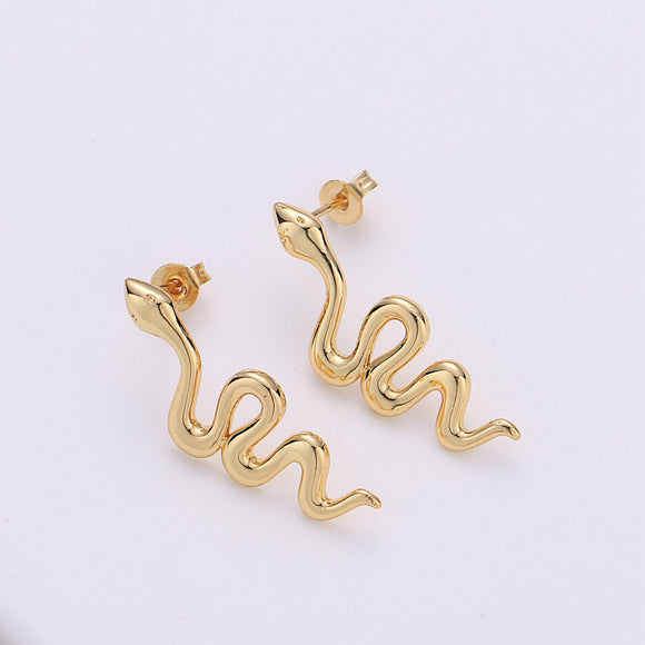 1 pair Gold Snake earrings, snake stud earrings, dainty earrings, Serpent earrings, delicate studs, gold earrings, minimalist earring