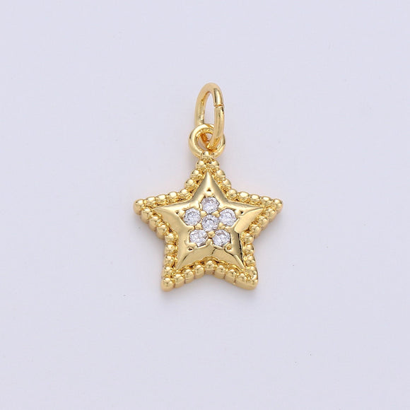 Mini Star Charm CZ Cubic Zirconia Celestial Charm Gold Charm, 14k Gold Filled CZ Charm Pendant for Bracelet Earring Necklace Component