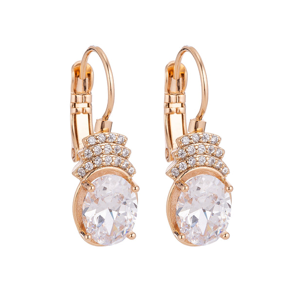 Gold White Gem Micro Paved Diamonds Latch Back Dangle Drop Earring, Gold Earrings, Gold Plated, Dangle Earrings, Birthstone Jewelry