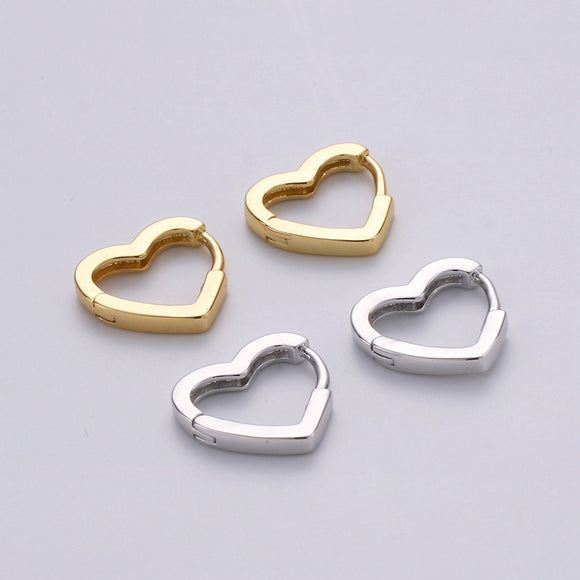 1 pair Dainty Gold Heart Hoop Earrings, Small Gold One Touch Hoops, Heart Earring Gift For Her 24k Gold Filled Earring
