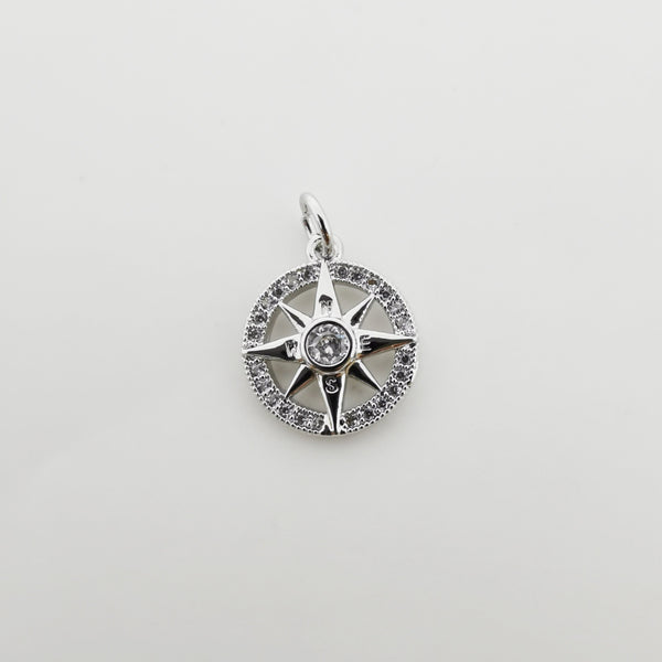 Silver Filled Compass charm, Silver Charms, For Charm Bracelets, For Necklace Pendant, Cubic Zirconia Diamond, Gold Charm, Gold Compass