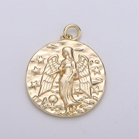 Rustic Coin Charm 14k Gold Filled coin pendant, Medallion charms Angel coin charms, Vintage Disc Charm for Necklace Bracelet Earring