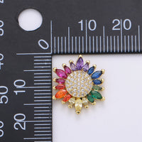 Micro Pave Gold Sunflower Charm Colorful Cubic Zirconia Necklace Pendant 14k Gold Filled Rainbow Sun Flower Charm for Jewelry Making