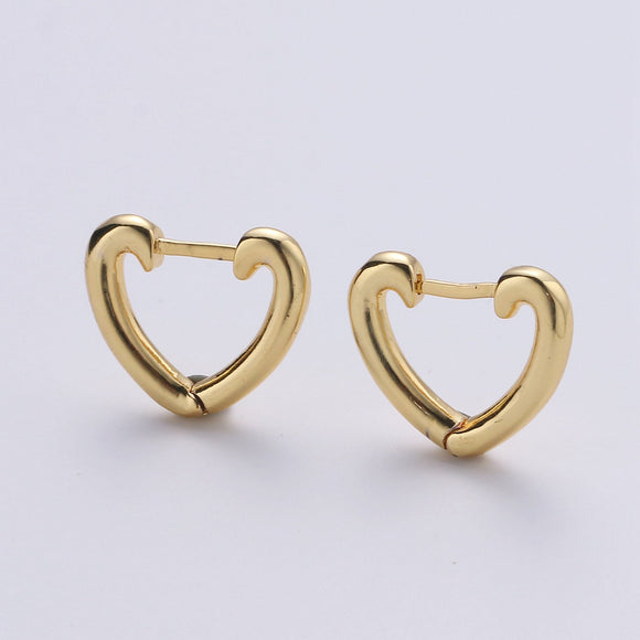 1 pair Dainty Gold Heart Hoop Earrings, Small Gold One Touch Hoops, Huggie Love Earring Gift For Her 24k Gold Filled Earring