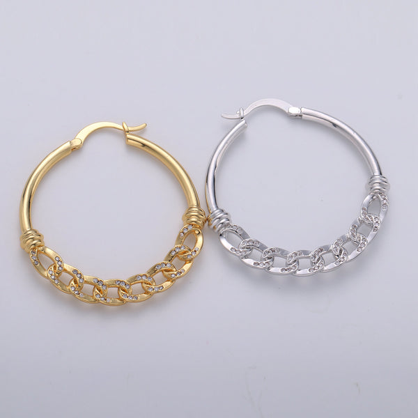 40mm Gold Hoop Chain Earring- Curb Chain Earring - Thin Earring - Gold Filled Hoop Ring - Minimalist Jewelry - Cuban Link Earring
