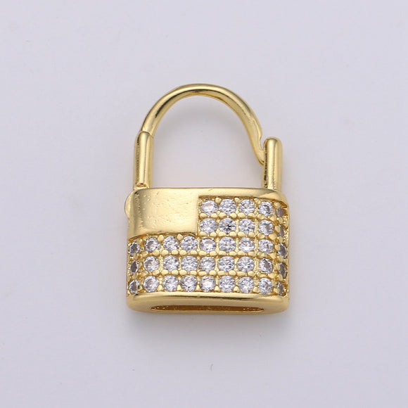1 pair Dainty Gold padlock Earrings, CZ Hopp Earrings, Gold Hoop Lock Earrings, Micro Pave gold lock Huggie, Love Jewelry for gift idea