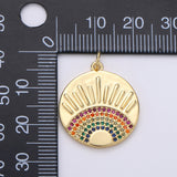 24K Gold Filled SunBurst Charm for Necklace Multi Color Cz Charm Micro Pave Rainbow Charm Gold Sun Rise Celestial Jewelry