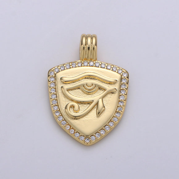 Dainty 14k Gold Filled Shield Charm, Cz Shield pendant, Micro Pave Eye Of Ra Pendant Protection Jewelry Supply
