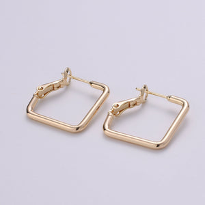 1 pair Geometric Ear Hoop Square Earring Hoop Findings for Necklace Jewelry Making in 18k Gold Filled