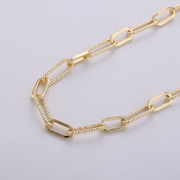 Paperclip Chain Necklace 16k Gold Plated Long Oval Paper Clip Chain 2x4mm, Nickel Free Unfinished Link Chain #270